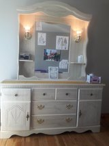 White dresser with mirror and lights in Joliet, Illinois
