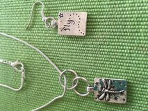 Dragonfly Jewelry Set Silver Double Sided with Fly on Back Side Necklace and Earrings Stainless ... in Kingwood, Texas