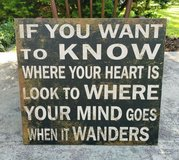 """Wall Decor Wood Word Sign Where Your Heart Is 20"""" x 22"""" in Plainfield, Illinois"""