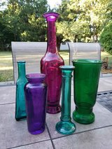 Lot of 5 Colored Glass Vases in Plainfield, Illinois