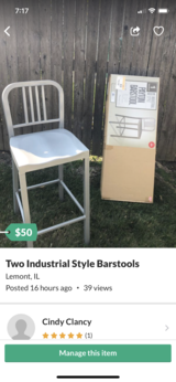 Two Metal Industrial style Barstools in Naperville, Illinois