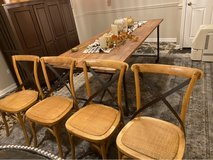 farmhouse chairs w black sling back (4) in Chicago, Illinois