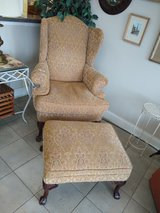 Chair with Ottoman Muted Gold / Beige Pattern in Bartlett, Illinois