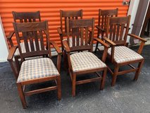 Mission Qtr Oak Arm Chairs 6 in Cherry Point, North Carolina