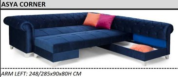 United Furniture - Asay Corner with Sleep Function in Dark Gray and Charcoal Velvet incl del.. in Spangdahlem, Germany