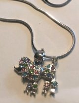 Poodle Pendant Bling Silver Pastel Rhinestones Dainty Bright Silver Snake Chain in Kingwood, Texas