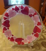 "PEGGY KARR 11"" SIGNED Fused Art Glass VALENTINE HEARTS PLATE in Bartlett, Illinois"