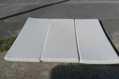foam mattress 54'' x 75'' x 3'' the cover can be unzip from the foam  &  cleaned in Okinawa, Japan