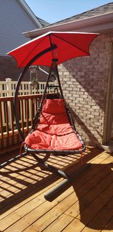 Patio hanging chaise lounger with stand and umbrella. in Bolingbrook, Illinois