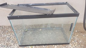 20 gallon glass fish tank, metal stand, accessories in Yucca Valley, California