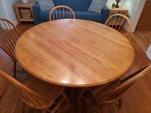 5 ft round dining room table with 5 chairs in Beaufort, South Carolina