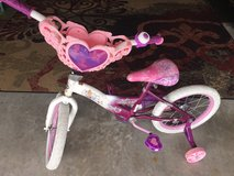 """16"""" pink and purple princess bicycle with training wheels in Camp Lejeune, North Carolina"""