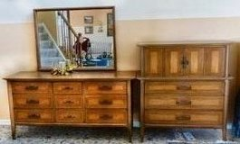All Wood Matching Bed Room Set - Classic Lady's Dresser with Mirror, Gentleman's Dresser, 2 Nigh... in Naperville, Illinois