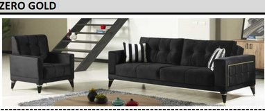United Furniture - Zero Gold  Living Room Set in Black Velvet including delivery in Stuttgart, GE
