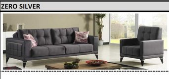 United Furniture - Zero Silver Living Room Set in Anthracite Velvet including delivery in Spangdahlem, Germany