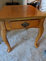 End table, Queen Anne style, warm honey stain in Batavia, Illinois