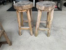 Teak wood bar stools in Okinawa, Japan
