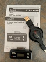 iPhone 4 (or iPod) Wireless FM Transmitter + Retractable Charging Cable in Aurora, Illinois