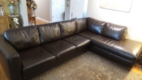 Dark Brown Faux Leather 4-Seater Right-Facing Chaise L-Shaped Sectional Sofa in Yorkville, Illinois