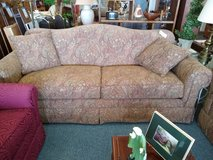 2 tan/ brown paisley sofas by Bassett in St. Charles, Illinois