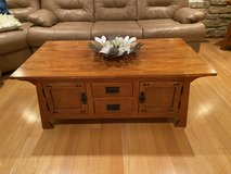 solid oak wood table & matching table set / living room table set in Yorkville, Illinois