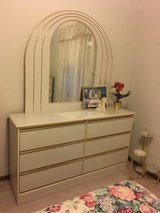 Beautiful Cream Bedroom Set - Dresser with Mirror Chest and Headboard - $350 in Clarksville, Tennessee