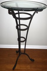 """SALE PENDING - 24"""" Round Glass High Top Bar / Pub Table - Brown Metal Base in Orland Park, Illinois"""