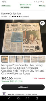 The Day Elvis Died Newspapers in Clarksville, Tennessee