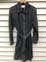 Calvin Klein Jeans Women Stonewash Black Denim Midi Trench Coat Jacket Large in Joliet, Illinois