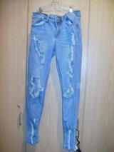 Junior Indigo Rein Ankle Ripped Jeans (T=45) in Fort Campbell, Kentucky