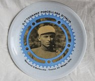 Italian vintage small plate to commemorate a local cyclist in Okinawa, Japan