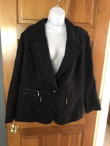 Laura Ashley Black Sparkly Jacket with Silver Zippers - 2X in St. Charles, Illinois