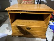 Solid Oak TV stand in Bartlett, Illinois