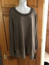 Simply Vera Taupe Tunic Sweater with Rhinestone Neckline -2X in St. Charles, Illinois