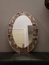 23 in. W x 29 in. H Frameless Oval Bathroom Vanity Mirror in Gray,Brown & Cream in Naperville, Illinois