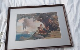 Vintage print of boy and steamboat in Kingwood, Texas