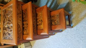 1940's Ornately Carved Glass Topped Nesting Tables in Fort Lewis, Washington