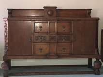 English Antique Tiger Oak Sideboard / Buffet / Bar Cabinet / Television Stand in Beaufort, South Carolina