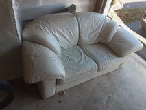 White leather couch in St. Charles, Illinois