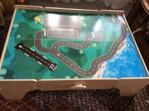 Train table/ Lego play table with wooden train parts and  track in Ramstein, Germany