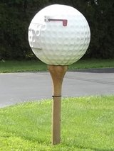 Golf Ball Mail Box on top of a Golf Tee in Plainfield, Illinois