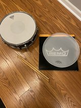 Pacific Snare Drum, drum head cover and sticks in Plainfield, Illinois