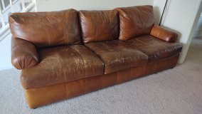 Leather couch in Batavia, Illinois