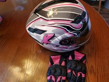 GMAX Limited Edition Pink Ribbon Rider Motorcycle Helmet and gloves in Warner Robins, Georgia
