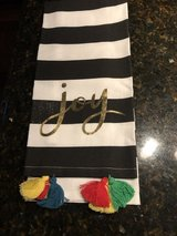 "4 New Black/White Striped Cotton Kitchen Towels with Gold ""Joy"" and Tassels in Bolingbrook, Illinois"