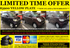 LIMITED TIME OFFER!! $3900 YELLOW PLATES FOR SALE!! NEW JCI AND 2 YR WARRANTY!! in Okinawa, Japan