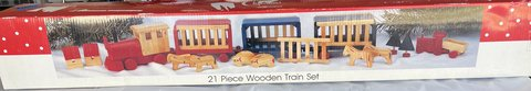 21 Piece Wooden Train Set with box in Warner Robins, Georgia