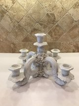 Vintage 40s - 50s Italy White Porcelain Candelabra Candle Holder Centerpiece in Kingwood, Texas