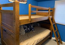 Twin bunk beds solid wood with 2 mattresses in Batavia, Illinois