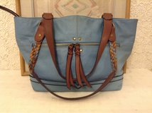 """Purse, handbag by """"born"""" in blue & brown leather in Yucca Valley, California"""